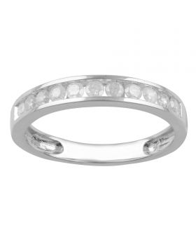 10K White Gold Channel Set Round Cut Diamond Ring 0.50CT