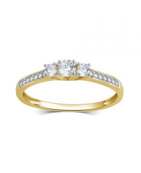 10K Yellow Gold Round Cut 3-Stone Diamond Ring  0.25CT