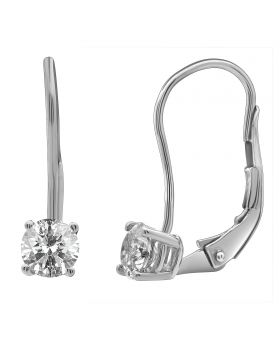 14K White Gold Real Diamond Solitaire LeverBack Earrings 0.50ct
