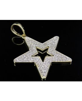"10k Yellow Gold Shining Star Finished in White Genuine Diamond Pendant 1.25"" 0.33 Ct"