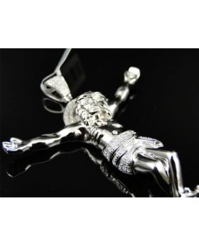 Mens White Gold Finish 2.75 Inch Diamond Jesus Piece Pendant Cross Charm .5 Ct