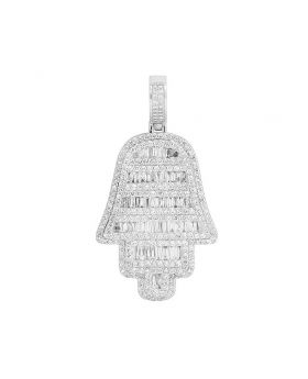"14K White Gold Baguette Diamond Hamsa Hand Pendant 2.25"" 5 CT"