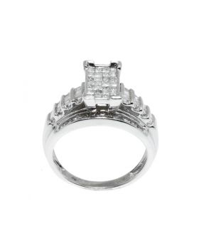 Front, Top -  Princess, Round and Baguette Cut Diamond Wedding Ring