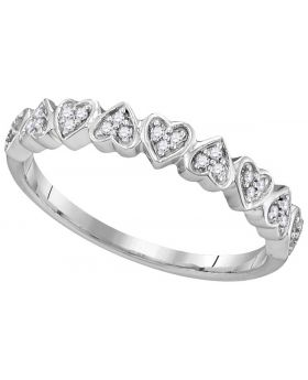 10K White Gold Real Pave Heart Ring Band 0.10ct