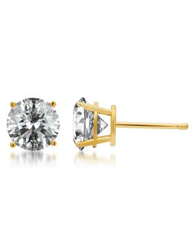 Men's Ladies 14k Yellow Gold Round Diamond Solitaire Studs 2 ct