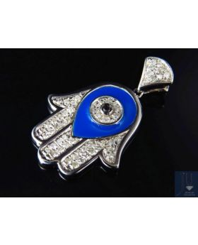 "Hamsa Evil Eye Diamond Pendant In White Gold Finish 1.25"" (0.50 Ct)"