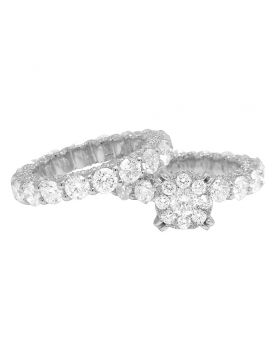 14k White Gold Ladies Solitaire Eternity Flower Cluster Engagement Real Diamond Bridal Ring Set 3.8CT