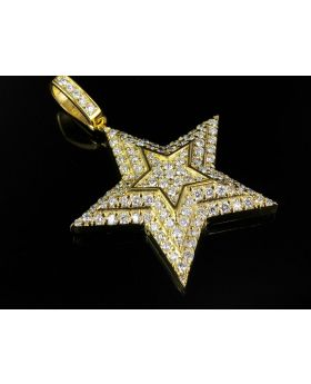 """10k Yellow Gold Exotic Iced Out Star Diamond Pendant 2.95 ct 1.75"""""""