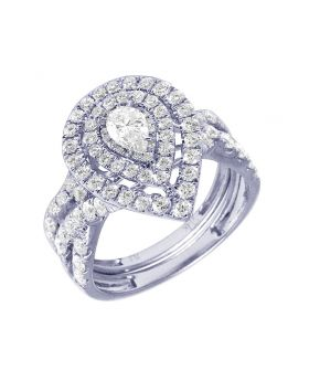 Ladies 14K White Gold Double Halo Pear Twisted Bridal Set 1.95 CT
