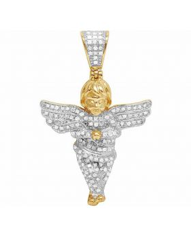 Real Diamonds Men's 10K Yellow Gold Iced Angel Pendant Charm 0.60 CT 1.5""