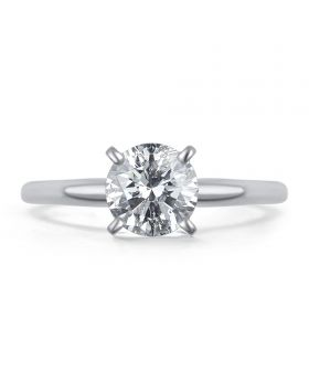 14k White Gold Round Solitaire 0.75 ct Diamond Engagement Ring