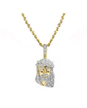 10K Yellow Gold Real Diamond Jesus Piece Pendant Chain Set (0.33ct) 1.3""