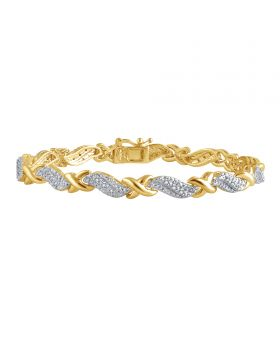 Natural Diamond XO Tennis Bracelet in Yellow Gold Finish brass 0.25ct