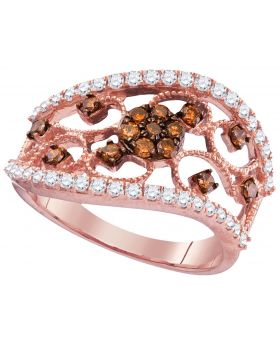 14K Rose Gold Floral Ring with 1.4 CT Red Cherry Diamonds