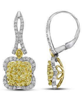 14K White Gold Round Corners Earring with 2.4 CT Diamonds