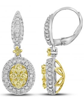 14K White Gold Two Clusters Earrings with 1.4 CT White and Yellow Diamonds
