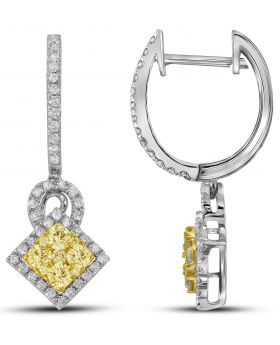 14K White Gold Angled Square Earrings with 1.12 CT White and Yellow Diamonds
