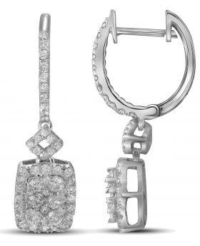 14K White Gold Square Earrings with 0.82 CT Diamonds