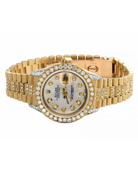 18K Ladies Yellow Gold Rolex 6917 Presidential Datejust with 8 Ct Diamond
