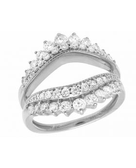 Ladies 14K White Gold Real Diamond 18MM 2 Rows Solitaire Enhancer Ring 1 Ct
