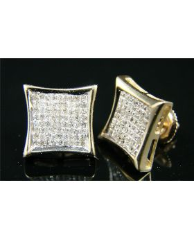 Princess Cut Pave Diamond Stud Earrings in 10K Yellow Gold (1.20ct)