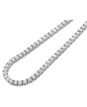 "White Gold 4 Prong Set 25 Pointer Diamond Tennis Chain 4MM 20"" 30CT"