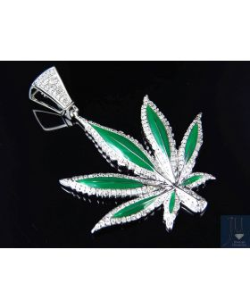 White Gold Finish Genuine Diamond Enamel Coated Marijuana Pendant (1.0ct)