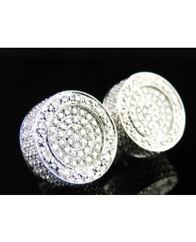 Dual Round Pave Diamond Earrings 10k White Gold.