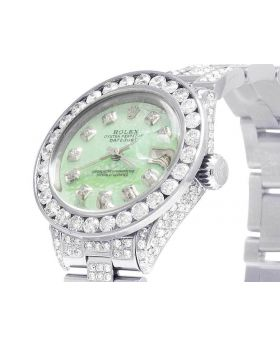 Ladies Rolex Datejust 26MM Green MOP Dial Diamond Watch (10.5 Ct)