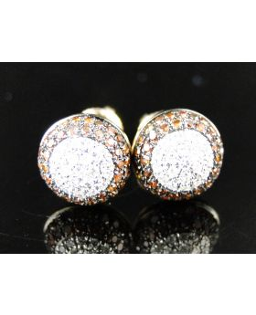 Red And White Dome Diamond Stud Earrings In 10K