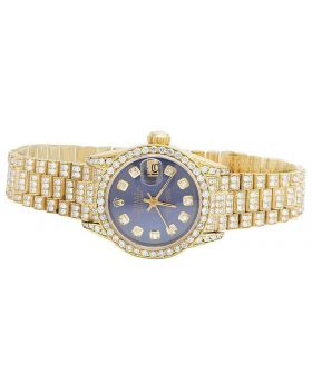 Rolex 18K Yellow Gold 26MM Blue Presidential VS Diamond Watch 9.0 Ct