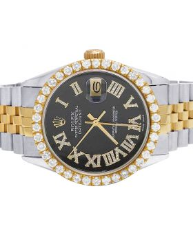 Rolex Datejust 18K/ Steel Two Tone 36MM Black Dial Diamond Watch 4.0 Ct