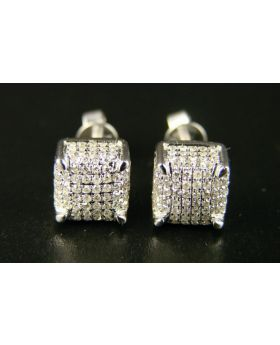 Ice Cube Diamond Stud Earrings In 10K  Gold ( 2 gms)