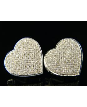 Heart Shape Pave Diamond Stud Earrings in 10K W Gold