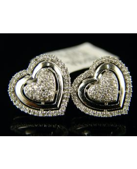 Double Heart Pave Diamond Stud Earrings (2+ grams)
