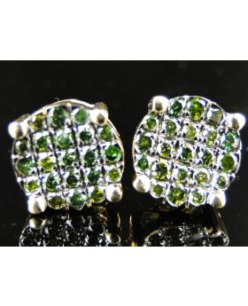 Round Green Diamond Earrings Studs In 10k Yellow Gold