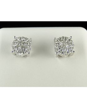 Princess & Round Cut Diamond Stud Earrings In 14K