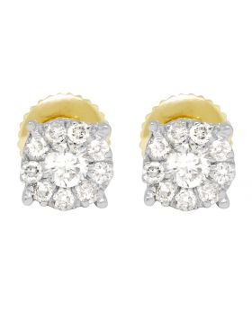 10K Yellow Gold 4 Prong Cluster Earring 6mm .50ct