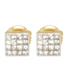 14K Yellow Gold 4 Row Princess Cut Square Stud Earrings 6 mm .75ct