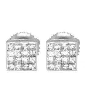 14K White Gold 4 Row Princess Cut Square Stud Earrings 6 mm .75ct