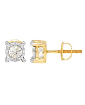 10K Yellow Gold Round Bezel Diamond Stud Earrings 1.25ct