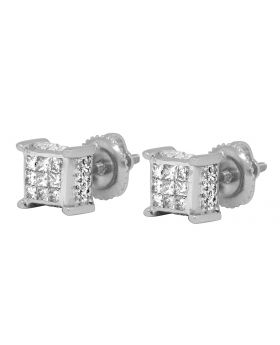 14K White Gold 3D Cube Earrings .75ct