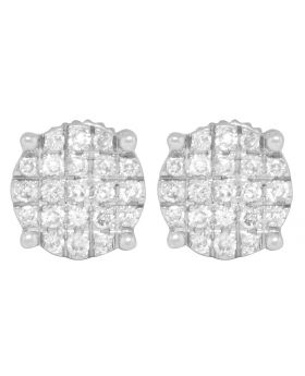 10K White Gold Pave Round Earrings .40ct
