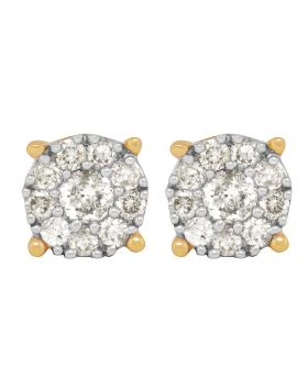 14K Yellow Gold Prong Flower Real Diamond Stud Earrings 1.50ct