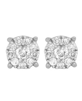 14K White Gold Prong Flower Real Diamond Stud Earrings 1.50ct