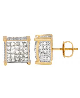 Unisex 14K Yellow Gold Princess Invisible 3D Square Studs 2.50CT