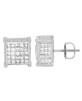 Unisex 14K White Gold Princess Invisible 3D Square Studs 2.50CT