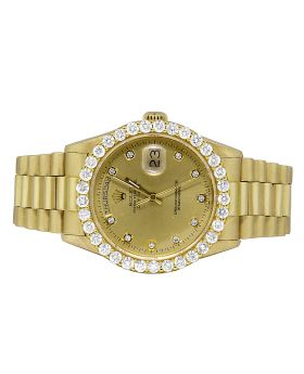 Mens Rolex President 18K Yellow Gold Day-Date Diamond Watch (5 Ct)