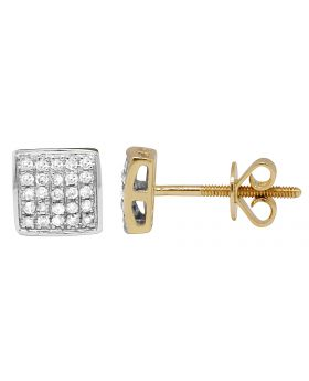 Unisex 10K Yellow Gold Square Real Diamond Earring Studs .25 ct
