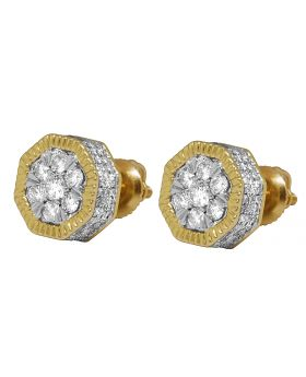 10K Yellow Gold 9MM 3D Octagon Diamond Earring Studs 1.25 ct